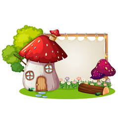 blank banner in garden with mushroom house vector image