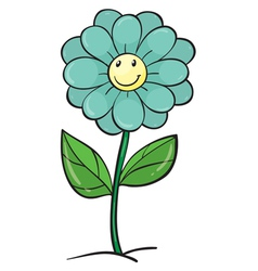 blue flower and plant vector image