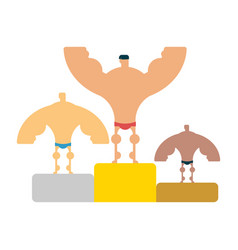 bodybuilding championships pedestal and first vector image
