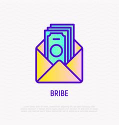 Bribe thin line icon money in opened envelope vector