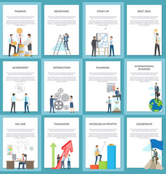 Business posters depicting hard-working employees vector