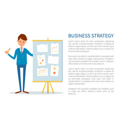 business strategy poster businessman at seminar vector image