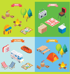 camping objects in isometric style flat 3d vector image