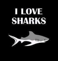Card cute shark isolated on black animal vector