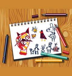 Children doodles draw cat felt pen paper and wood vector