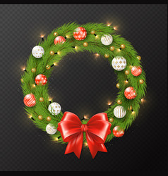 christmas garland reath isolated on transparent vector image