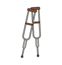 color image cartoon pair of medical crutches vector image