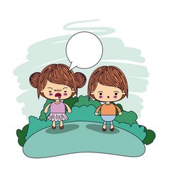 Color picture couple kawaii wink girl collected vector