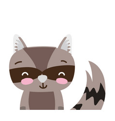 Colorful adorable and smile raccoon wild animal vector