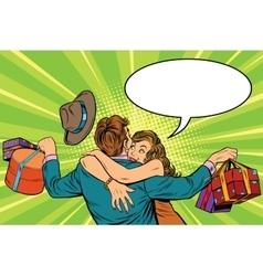 Couple man and woman the joy of gifts vector