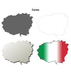 Cuneo blank detailed outline map set vector