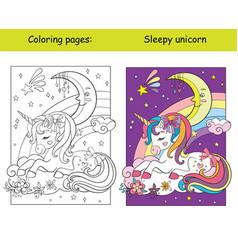 Cute sleepy unicorn lying on cloud coloring vector