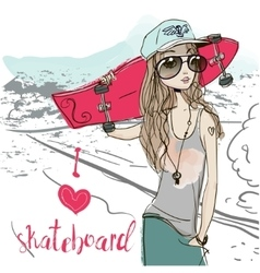 cute summer girl vector image