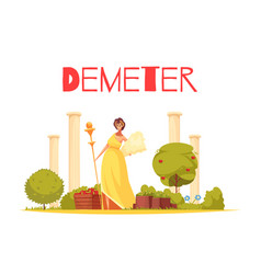 demeter cartoon composition vector image