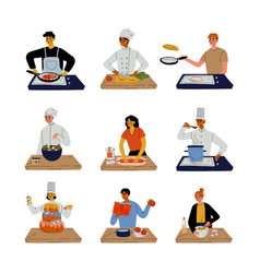 different people cooking in kitchen set vector image