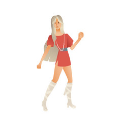 Disco dancing woman isolated vector