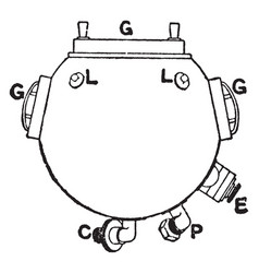 Diving helmet top vintage vector