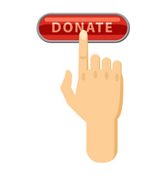 Donate button pressed by hand icon cartoon style vector