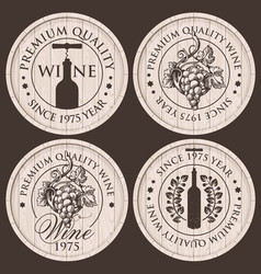 emblems for wine shop with grapes and bottles vector image