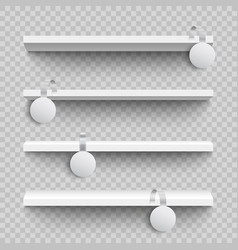 empty white shop shelves with round custom vector image