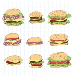Fast food hamburger doodle set vector image