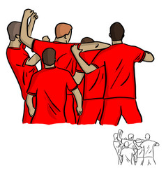 Five soccer players celebrating after shooting vector