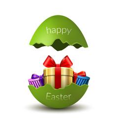 Gift box happy easter egg surprise broken green vector