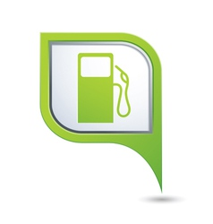 Green map pointer with gas station icon vector image