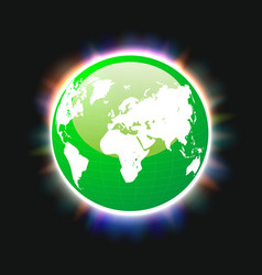 green planet earth and world map colorful light vector image