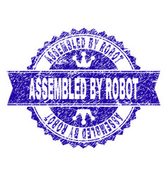 grunge textured assembled by robot stamp seal with vector image