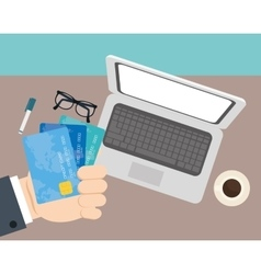 hand businessman credit cards office space vector image