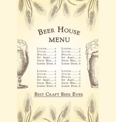 hand drawn beer bar or pub menu template vector image