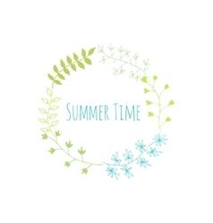 Hand drawn summer time vintage floral elements vector