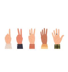 Hands counting count on fingers showing number vector