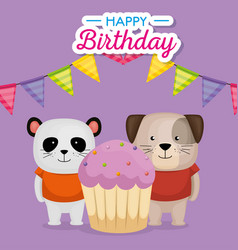 Happy birthday card with cupcake and cute animals vector