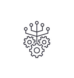 Integration line icon with gears vector