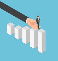 Isometric big business hand helping businessman vector