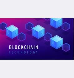 Isometric blockchain technology concept vector
