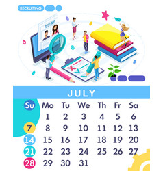 Isometric business calendar of 2019 vector