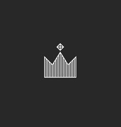 king crown logo monogram minimal style tiara vector image