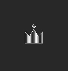 king crown logo monogram minimal style tiara with vector image