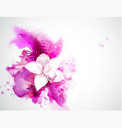 light blooming orchid and palm leaves on the vector image