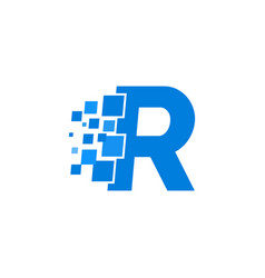 Logo letter r blue blocks cubes vector