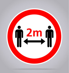 Maintain distance 2m sign vector