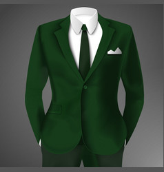 Male clothing business green suit vector