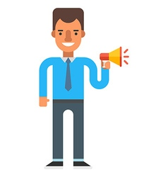 Man with a loudspeaker in hand vector image