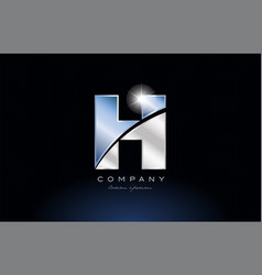 Metal blue alphabet letter h logo company icon vector