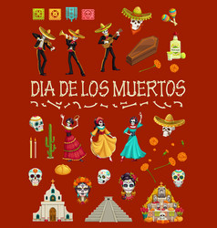 mexican day dead skull skeleton and cemetery vector image