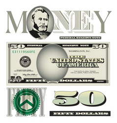 money 50 Dollars vector image