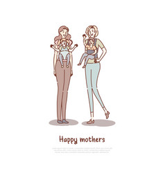 Mother holding children in bacarriers vector